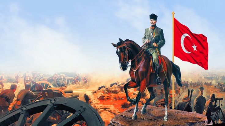 Kemal Attaturk leading the Turks to victory, Turkish War of Independence against the Ottomans