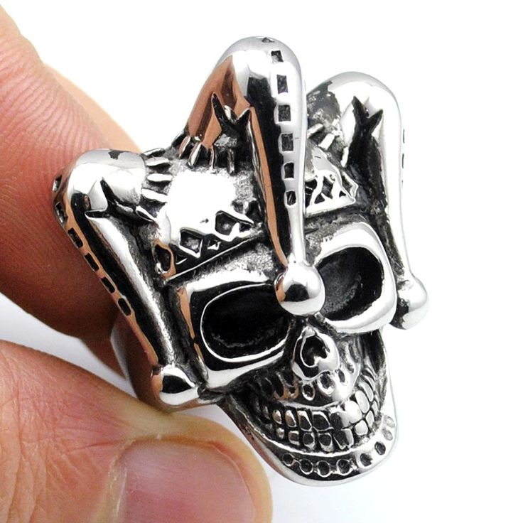Men's 2016 Stainless Steel Charm Punk Witch Skull Rings Retro Rock Gothic Ring Man Jewelry,AR434