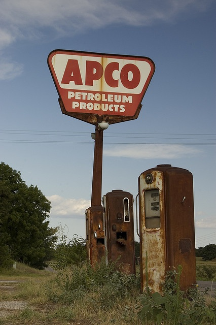 """""""Cogar APCO"""" -- [Abandoned APCO gas station - Highway 37 & Highway 152 & N2730 Road - Cogar, Caddo County, Oklahoma. The phone booth scene from the 1988 movie """"Rain Man"""" was filmed here. It was abandoned at that time as well. The APCO sign is now gone - as are some of the gas pumps.]~[Photograph by dadzilla165 - July 18 2009 - Cogar, Oklahoma - US]'h4d-06.2013'"""