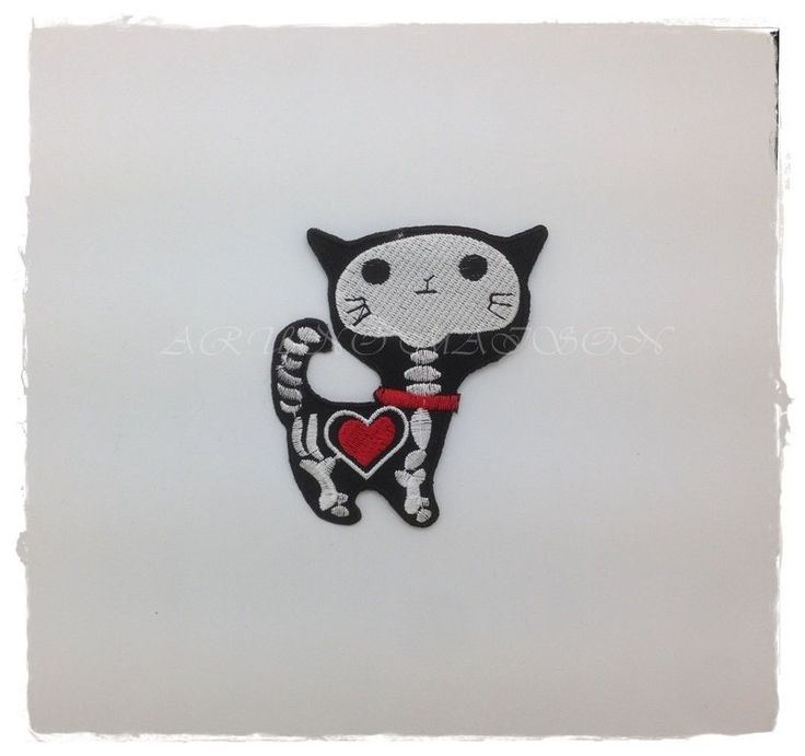 Heart with X-Ray Skeleton Cat Embroidered Iron Sew On Patch Free Shipping DIY #Unbranded
