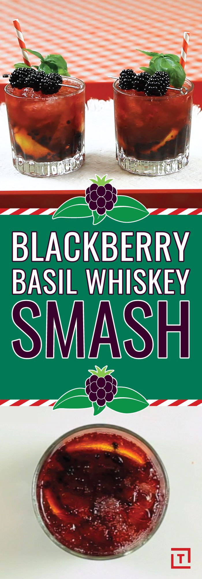 Crush it with this blackberry basil whiskey smash that features fresh muddled blackberries and lemons, a savory basil reduction, and a healthy amount of bourbon. Garnish it with a skewer of blackberries and some basil leaves for an easy-to-make refreshing summer cocktail.