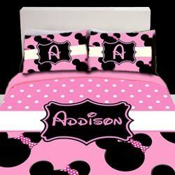 Personalized Light Pink Minnie Mouse Toddler Bedding