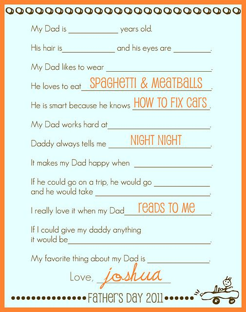 Cute Father's Day printable for kids to fill out.