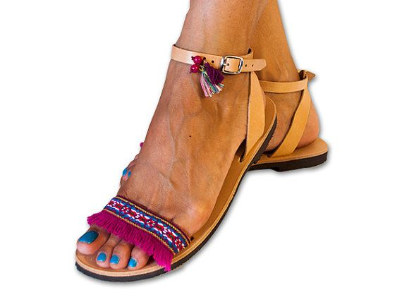 Boho Sandals , Hippie Sandals , Fringe Sandals ,Pink Sandals, Gypsy Sandals, Bohemian Sandals, Purple Sandals , Greek Sandals, AMORGOS