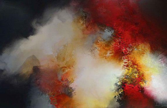 """Groot Abstract olieverfschilderij door Simon Kenny """"Dark Light"""" Mixed Media"""
