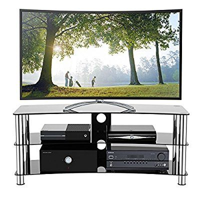 Cristal negro soporte para televisor LCD LED Plasma 3d, negro, 120 cm curved
