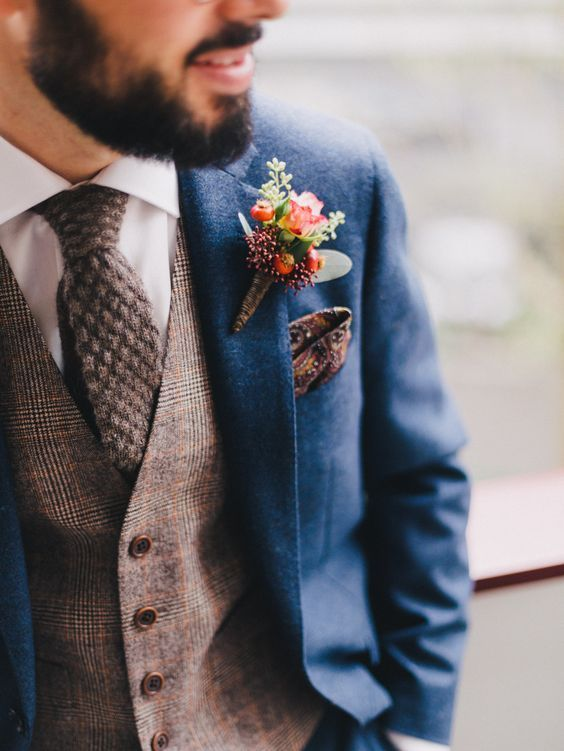 Navy Groom Suits