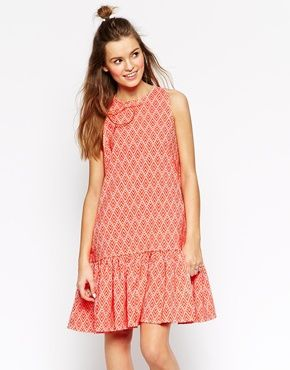 ASOS AFRICA Peplum Hem Dress in Textured Geo