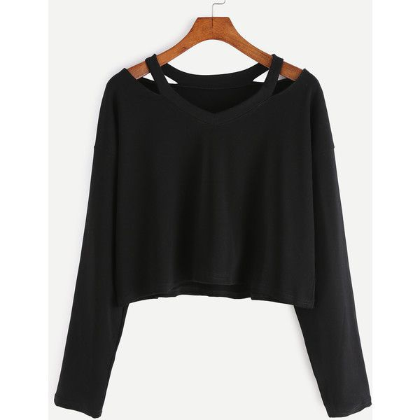 SheIn(sheinside) Black Cut Out Neck T-shirt ($9) ❤ liked on Polyvore featuring tops, t-shirts, shirts, sweaters, crop tops, long sleeves, black, long sleeve shirts, long-sleeve shirt and cut out sleeve top