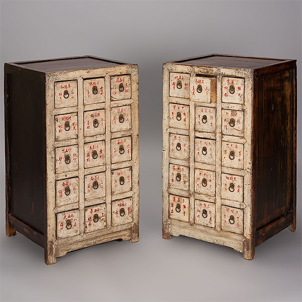 Asian Apothecary Cabinet, a version of the square-corner cabinet is often referred to as a medicine cabinet (yaochu) or hundred-eye cabinet. It is generally lower and wider than a standard cabinet. These cabinets have numerous pull-out drawers used to store herbs. Chinese doctors labeled each of the multiple drawers with the names of herbs and medicines.