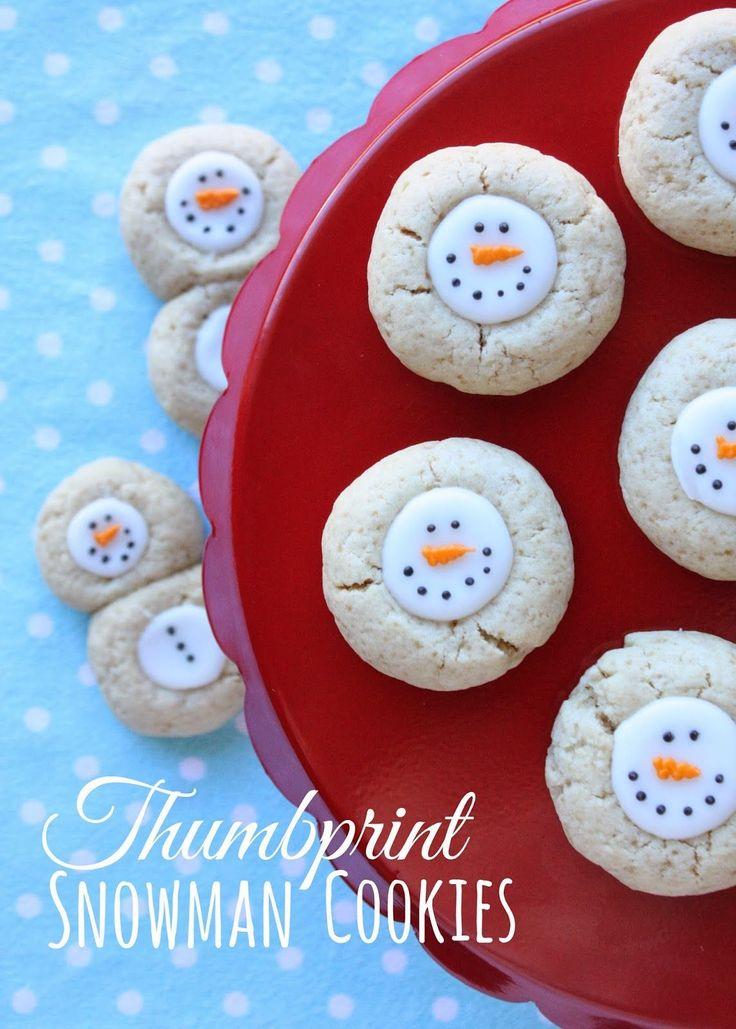 Thumbprint snowman cookies plus 24 more Christmas Cookies
