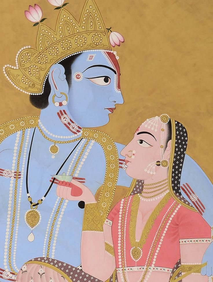 Krishna Presenting Lotus To Radha Miniature Painting his exquisite Krishna Presenting Lotus To Radha is created in the Jaipur style of miniature painting, from the school of art that originated in early 17th century in the state of Amber, and later moved to Jaipur. These paintings are characterised by strong lines and bold colours set in harmonious patterns and were influenced by the miniature style of the Mughals. www.jaypore.com