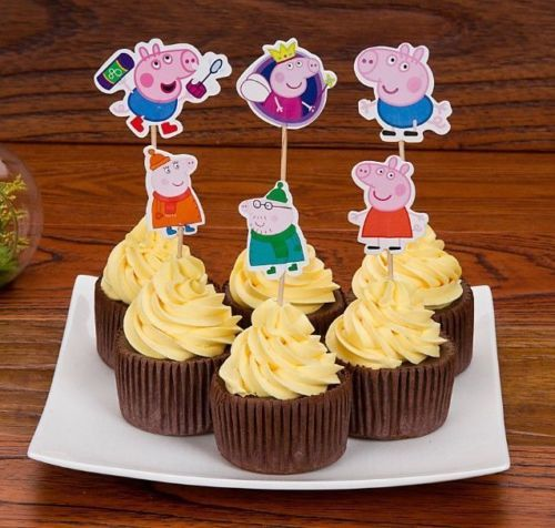 1-5-10-15-20-Peppa-Daddy-George-Pig-Birthday-Cup-Cake-Party-Toppers-Flag-Stick