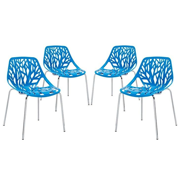 Modway Furniture Modern Stencil Dining Side Chair Set of 4 In Blue EEI-1318-BLU