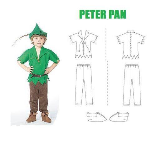 Carnaval, disfraz casero de Peter Pan con moldes. ideas disfraces escolares, disfraz con bolsa de basura