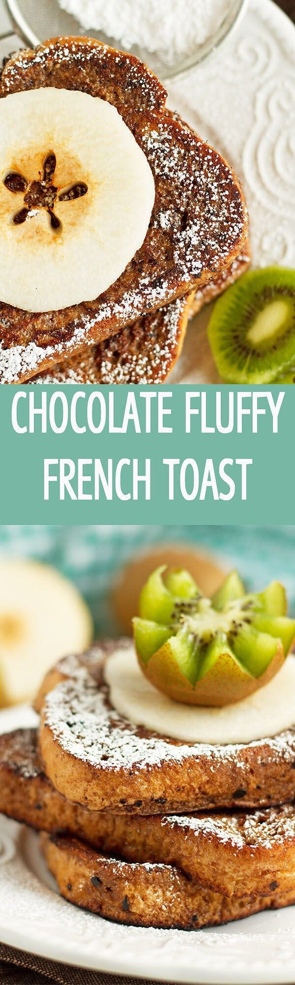Chocolate Fluffy French Toast recipe made in only 10 minutes with 6 ingredients! Perfect for breakfast or brunch! Served with any fruits by ilonaspassion.com I @ilonaspassion