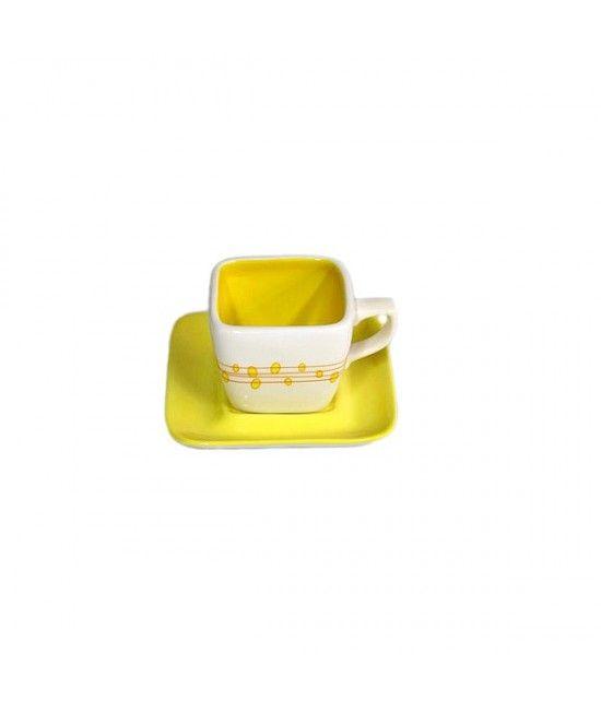 Set ce include #ceasca si #farfurie, realizate din ceramica, cu un design vesel, culori alb si galben.#cadou #casa #Paste