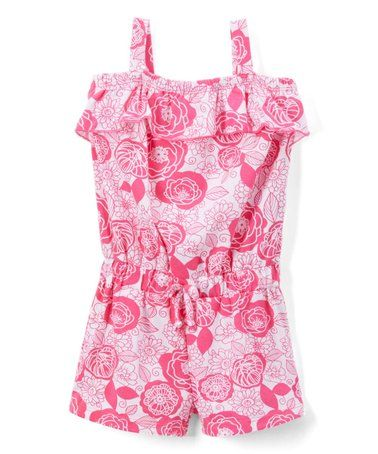 e15a2dbce020 Look what I found on  zulily! Pink Floral Sleeveless Romper - Infant ...