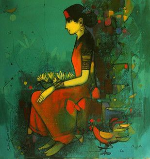 Woman with Flower Basket - Painting by Sachin Sagare