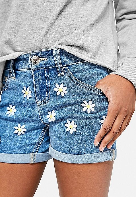 8852b8a870 Daisy Embroidered Denim Midi Shorts | Justice | 0Z My Style in 2019 ...