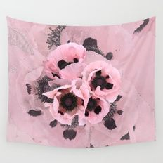 Poppies in the pink Wall Tapestry