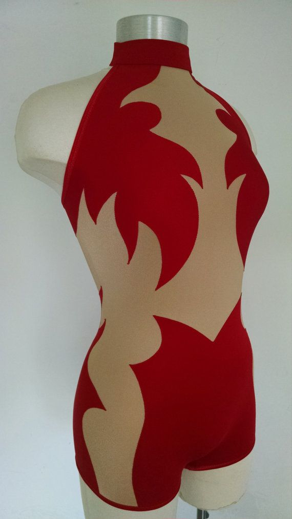 Red and Beige  Short circus / dance unitard by gorgeousbygorgeous