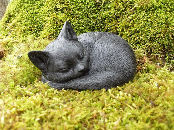 Cat Statue Black Sleeping Sculpture Figure