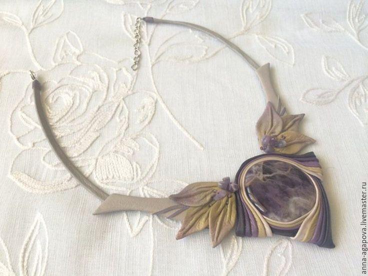 """Купить Колье из кожи с аметистом """"Фиолет"""" - фиолетовый, украшение на шею, украшение, украшение из кожи"""