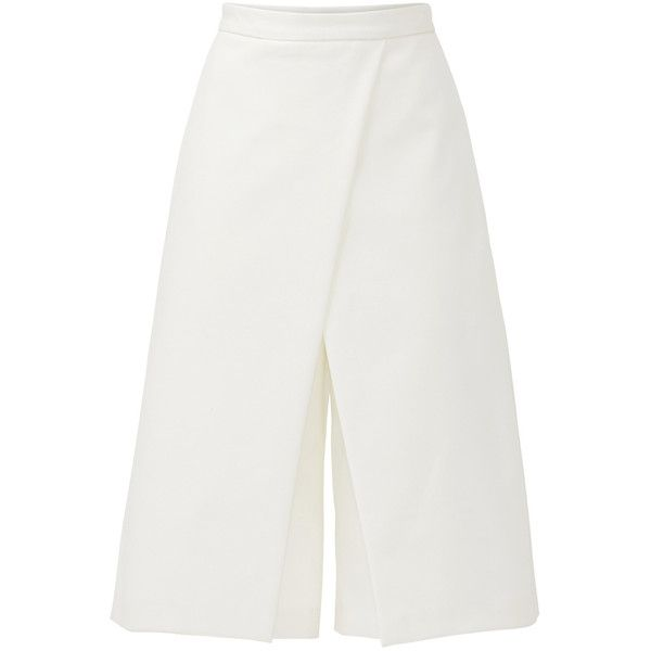 Rental Tibi White City Stretch Culotte ($75) ❤ liked on Polyvore featuring pants, capris, dresses, white, white crop pants, cropped capri pants, stretch crop pants, white trousers and crepe pants