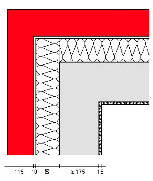 Außenwandecke mit Kerndämmung und VMz - außen