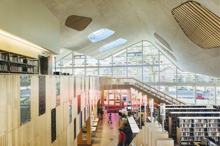 Futuristic Library Design Encouraging Social Interaction. Architect: Hughes Condon Marler and Dub Architects; location: Edmonton, Canada; Photography: Hubert Kang