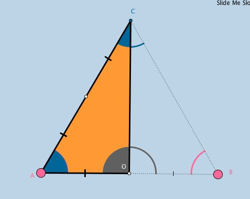 In this applet, students are led to discover, without words or angle measures, that a 30-60-90 triangle is half an equilateral triangle.  They are also led to discover that the length of the hypotenuse of a 30-60-90 triangle = double the length of its shorter leg, and are prompted to solve for the longer leg in simple radical form.