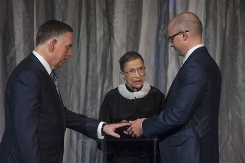 Ginsburg becomes first Supreme Court member to officiate at same-sex marriage NBC News: Justice Ruth Bader Ginsburg became the first Supreme Court member to conduct a same-sex marriage ceremony on Saturday. Ginsburg officiated at the marriage of longtime friend Michael M. Kaiser to economist John Roberts. Kaiser serves as president of the John F. Kennedy Center for the Performing Arts. The wedding took place in Washington, D.C.Photo: Supreme Court Justice Ruth Bader Ginsburg marries Michael…