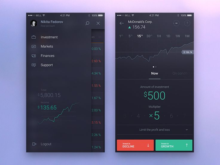 Another Trading app screens by Nikita Fedorov