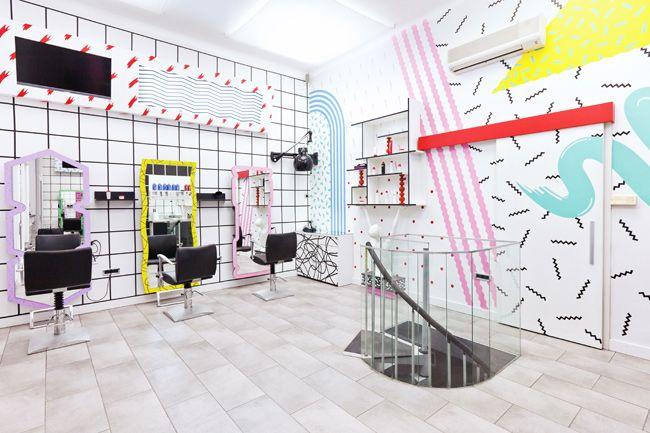 Mič Styling by Kitsch-Nitsch.: Memphis, Hairstyles, 1980S Design, Interiordesign, Kitschnitsch, Hair Salons Interiors, Stores Display, Salons Interiors Design, Kitsch Nitsch