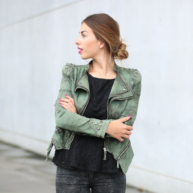 Studded Shoulder Denim Blazer - Green   Lookbook Store