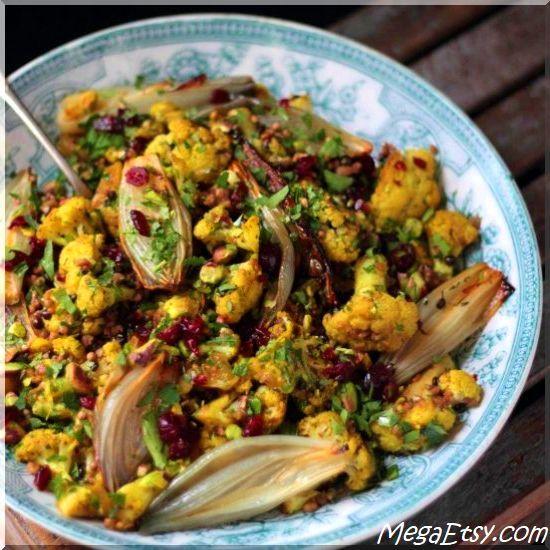 Dukkah cauliflower and roasted shallot salad