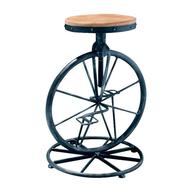 Michaelo Bicycle Wheel Adjustable Bar Stool - Round out your home's décor with the Michaelo Bicycle Wheel Adjustable Bar Stool. This bar stool has style. Perfect for cyclists and those ...