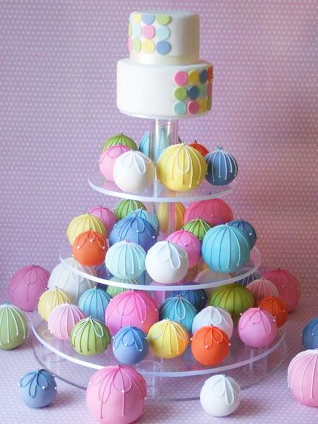 cake balls wedding cake....or smaller version used for a kids bithday!
