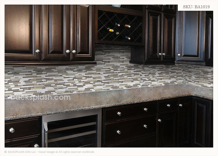 Best Brown Granite Cabinet With Marble Brick Backsplash Tile 400 x 300