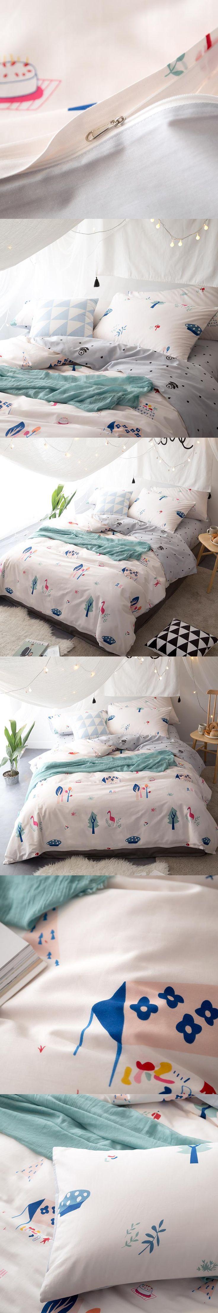 Papa&Mima Fresh Flamingo Trees 3/4Pcs Twin Queen King Size Bedding Soft Cotton Linens Duvet Cover Set Cartoon Style Bedding Sets