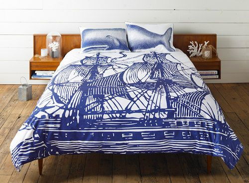 Ship/Whale bedding (Thomas Paul) - These are fun! Check out the others in the post on DesignSponge too.