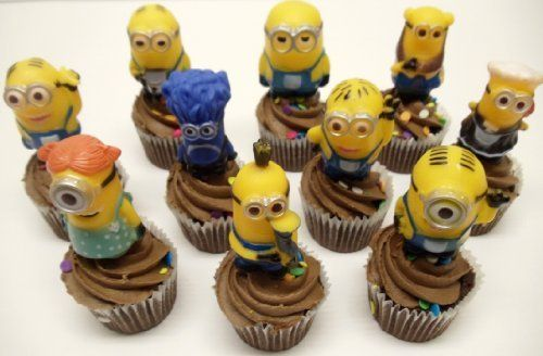 Despicable Me 10 Piece Minions Birthday Cake Cupcake Topper Set Featuring 2 Minion Cup Cake Toppers  @ niftywarehouse.com #NiftyWarehouse #Geek #Gifts #Collectibles #Entertainment #Merch