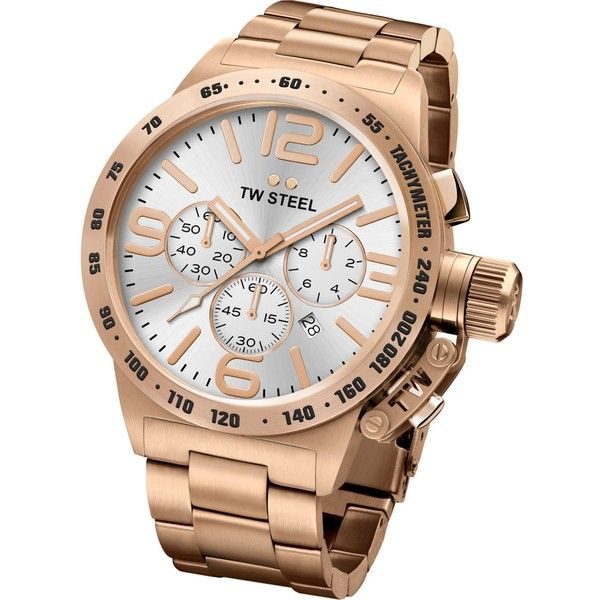 Tw Steel CB163 Canteen rose gold PVD-plated stainless steel... ($240) ❤ liked on Polyvore featuring men's fashion, men's jewelry, men's watches, mens rose gold watches, mens gold tone watches, mens blue dial watches, mens oversized watches and mens diamond bezel watches