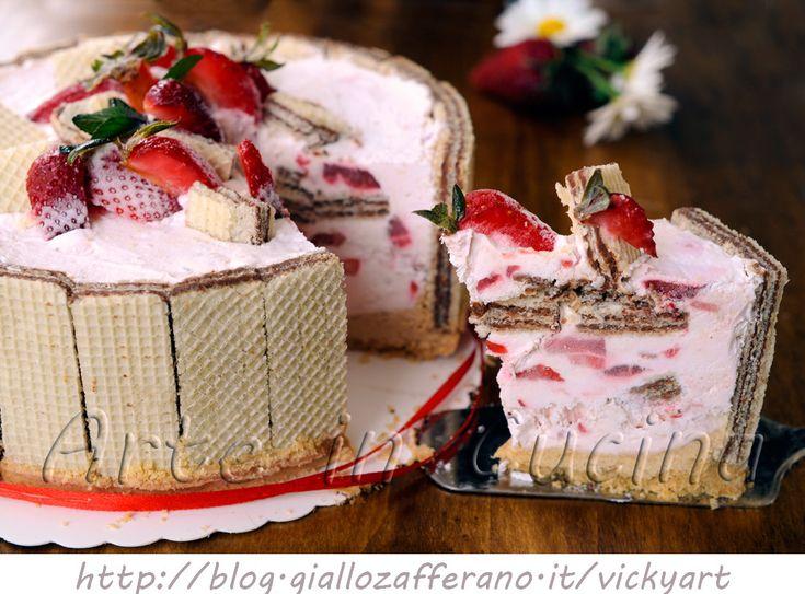 Sbriciolata di wafer con fragole e panna torta veloce vickyart arte in cucina