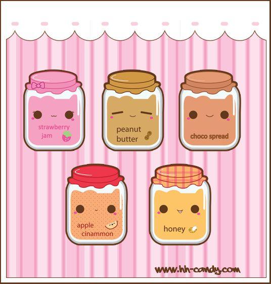 Jam, peanut butter , choco spread , apple cinammon and honey