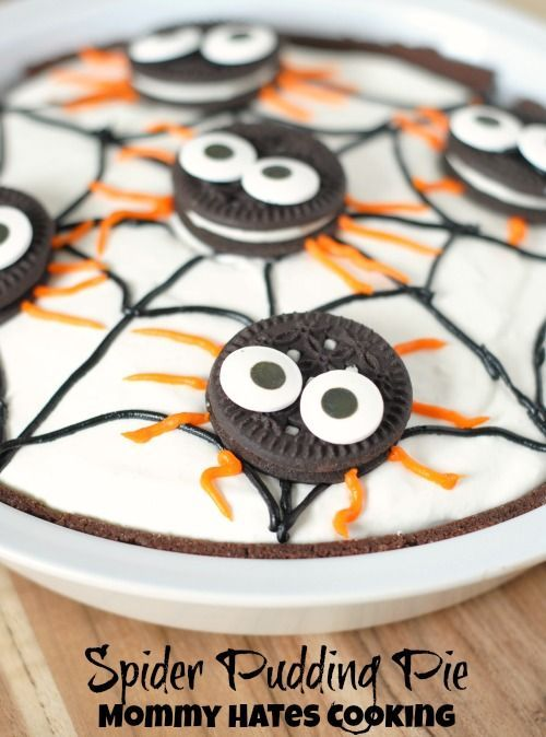 no bake spider pudding pie halloween dessertshalloween - Pudding Halloween Desserts
