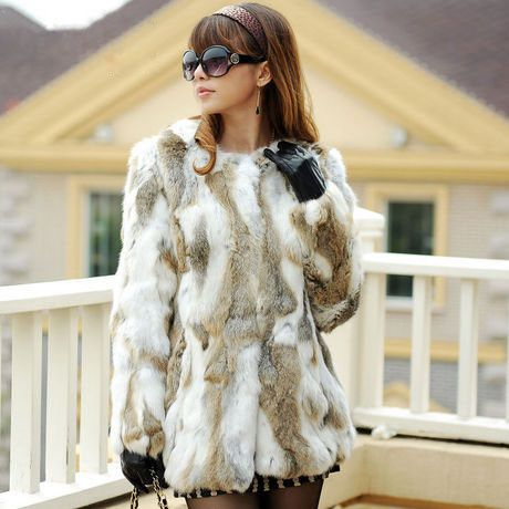 Free Shipping Genuine Rabbit Fur Coat long natural rabbit fur jacket Women Winter Rabbit Fur Waistcoat plus size F630