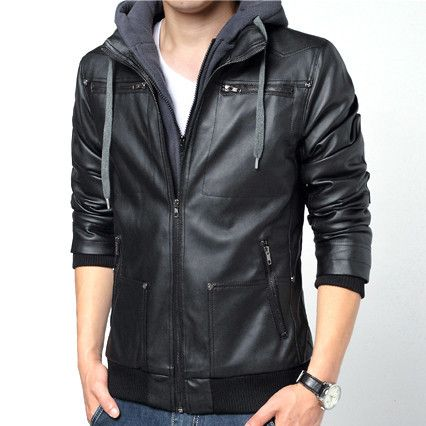Urban Men Fashion Design Zip Leather Jacket with Hood | Sneak Outfitters