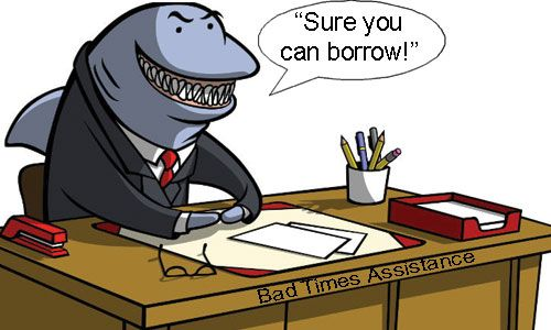 Loan shark =Someone who lends money to people and charges them a very highrate of interest. Agiota. Loan-sharking = Agiotagem.